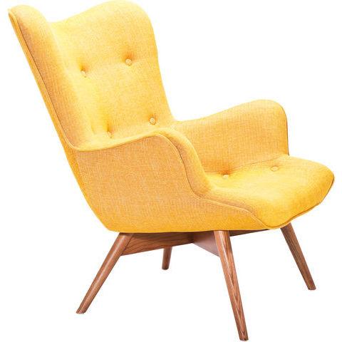 poltrona vintage tessuto gialla outlet arredo design