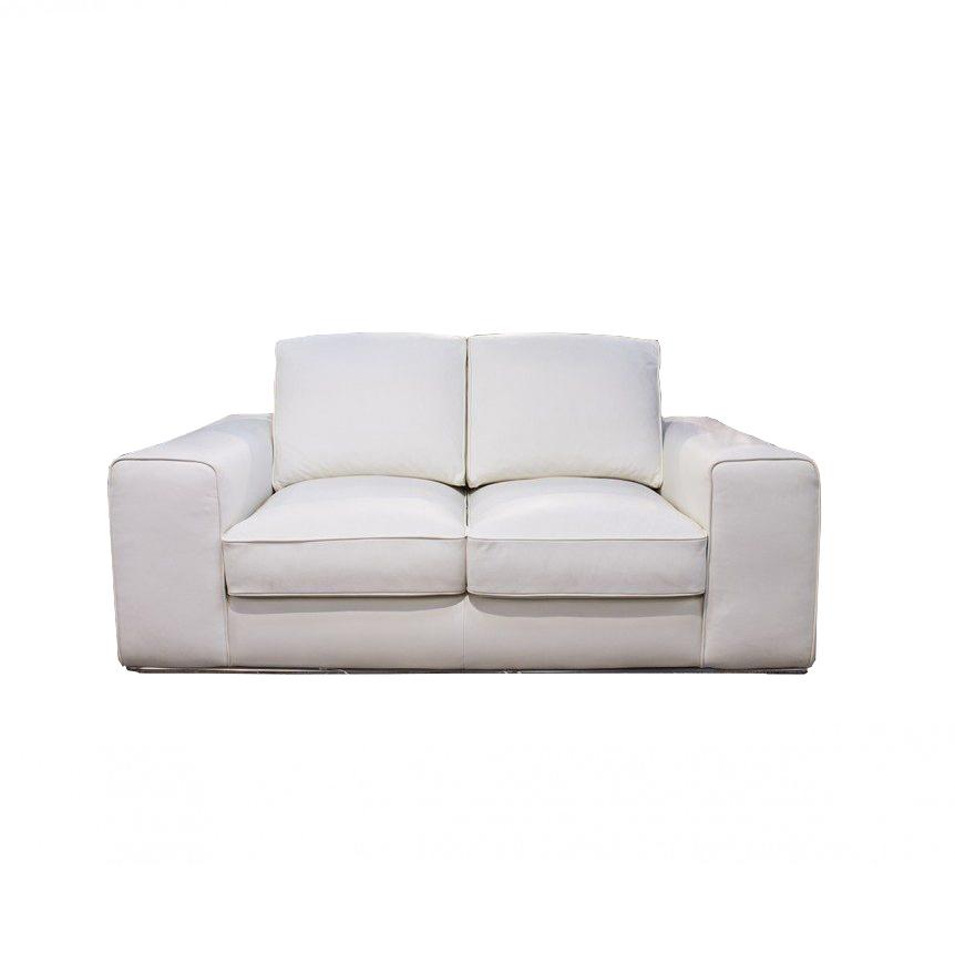 divano lineare moderno pelle bianco due posti