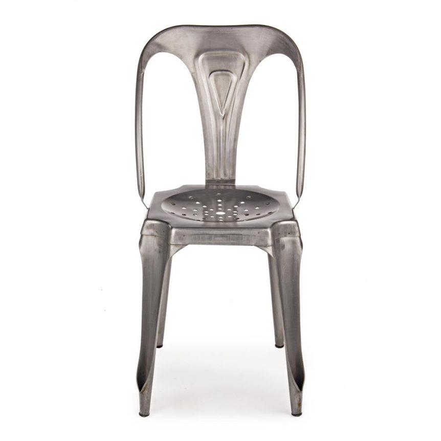 Sedia industriale ferro argento outlet arredo design for Sedia design vendita