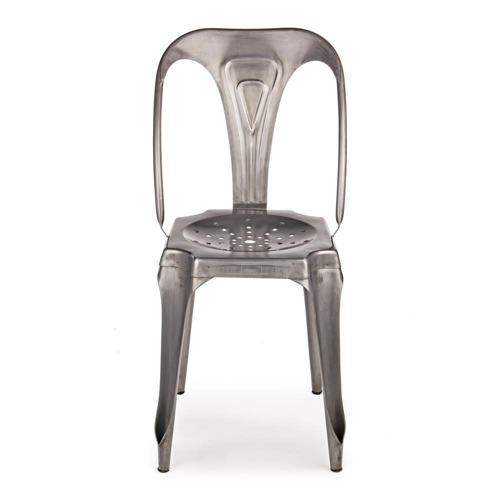 Sedia industriale ferro argento outlet arredo design for Sedia design 2016