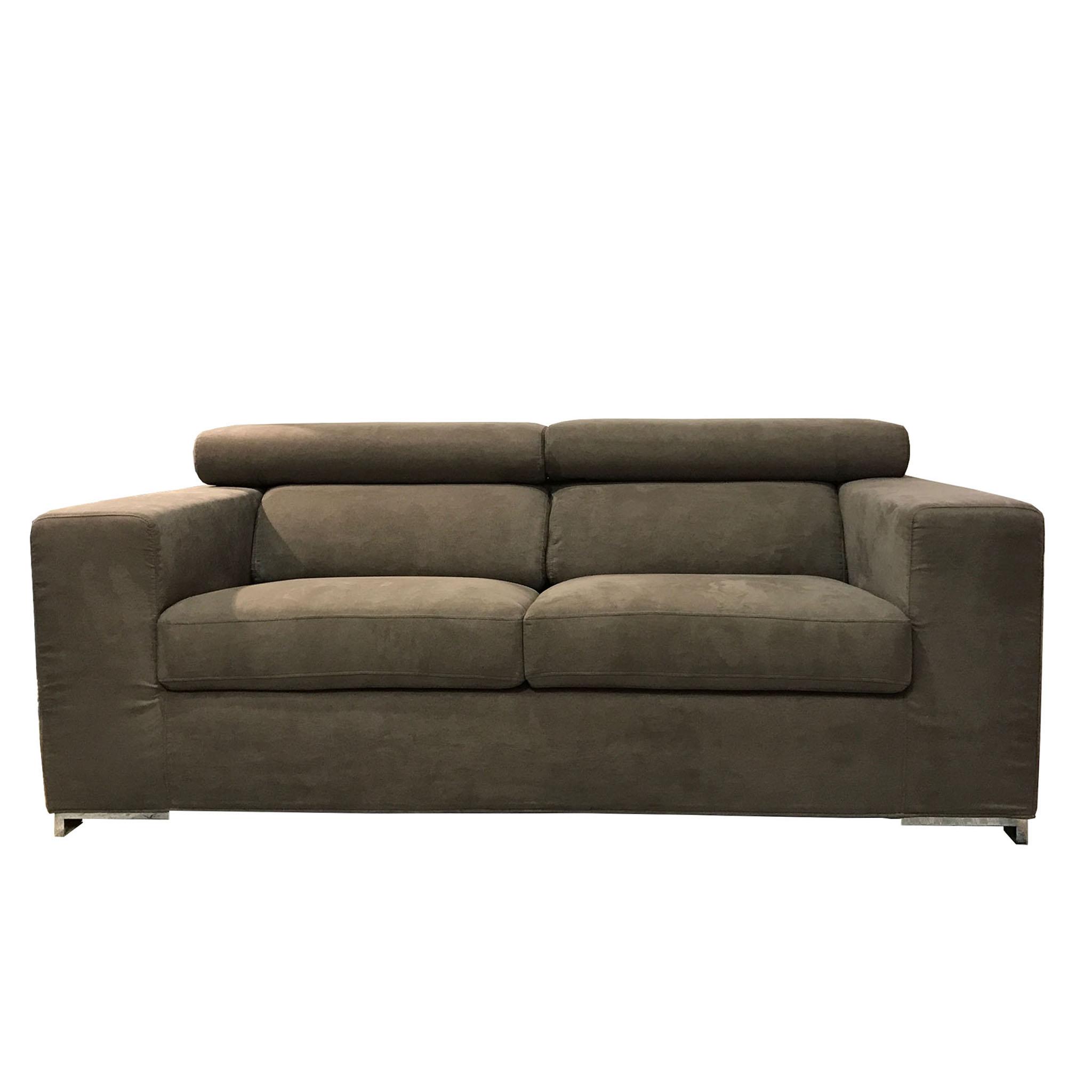 Divano moderno poggiatesta reclinabili tessuto grigio - Divano moderno design ...