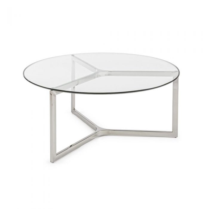 Tavolo Rotondo Vetro E Acciaio.Tavolino Rotondo Vetro Acciaio Outlet Arredo Design